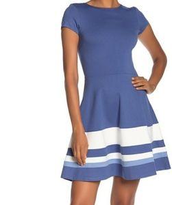 SALE LOVE...ADY CAP SLEEVE BLUE FIT & FLAIR DRESS